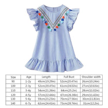 Load image into Gallery viewer, Girls Flutter Sleave Dress with Pom Poms
