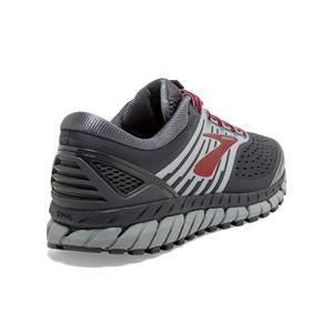 Brooks Men's Beast 18 2E Width Running Shoe Ebony / Primer / Biking Red - achilles heel