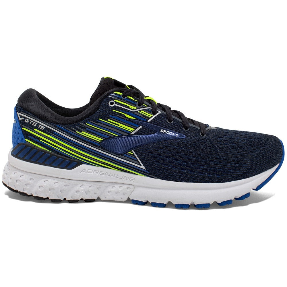 Brooks Men's Adrenaline GTS 19 2E Width Running Shoes Black / Blue / Nightlife - achilles heel