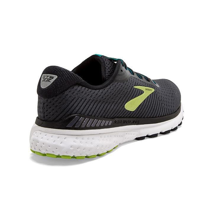 Brooks Men's Adrenaline GTS 20 2E Width Running Shoes Black / Lime / Blue Grass - achilles heel