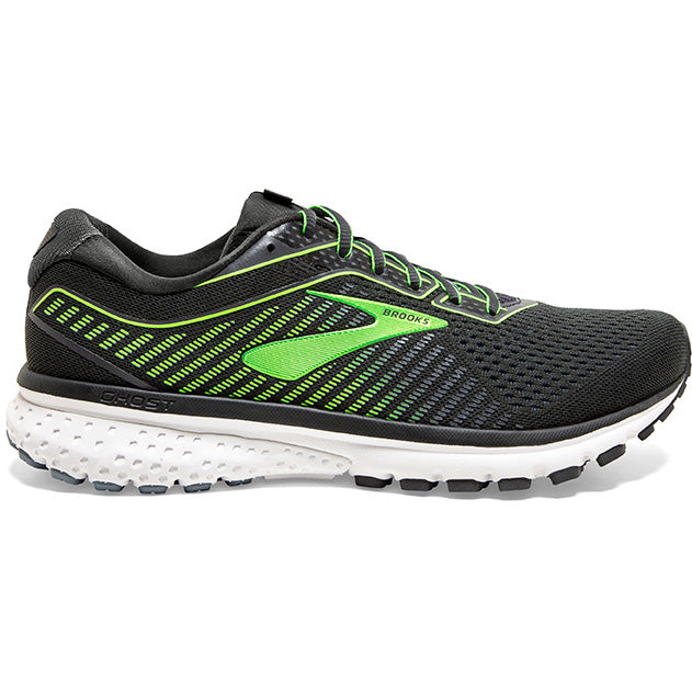 Brooks Men's Ghost 12 Running Shoes Ebony / Grey / Gecko