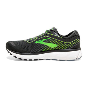 Brooks Men's Ghost 12 Running Shoes Ebony / Grey / Gecko - achilles heel