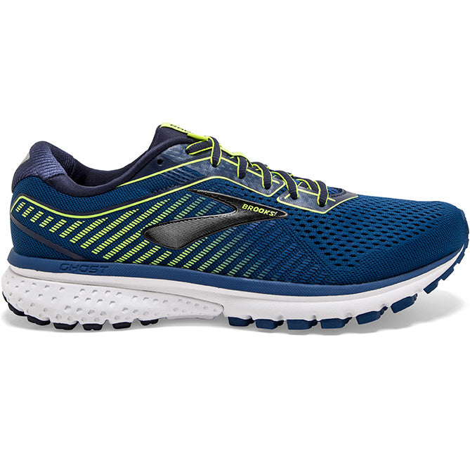 Brooks Men's Ghost 12 Running Shoes Black / Lime / Blue Grass