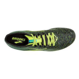 Brooks Men's Mach 19 Running Spikes Black / Shoots / Blue Grass - achilles heel