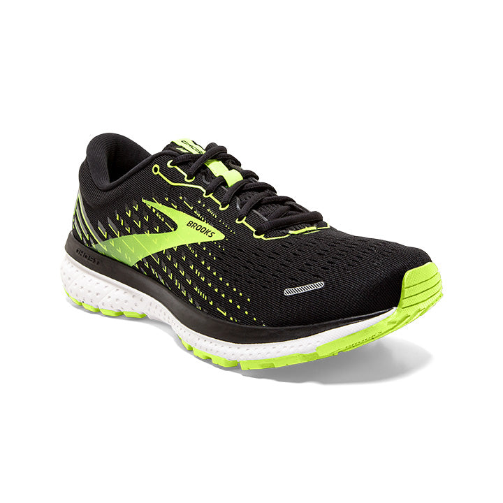 Brooks Men's Ghost 13 Running Shoes Black / Nightlife / White - achilles heel