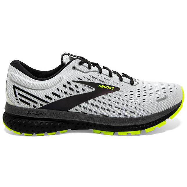 Brooks Men's Ghost 13 Running Shoes White / Black / Nightlife - achilles heel
