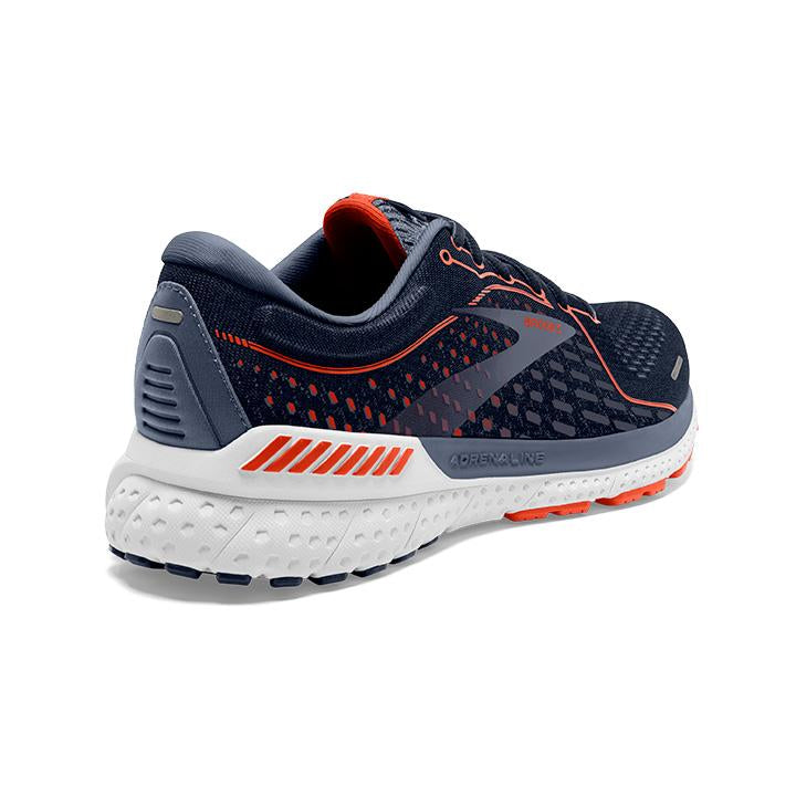 Brooks Men's Adrenaline GTS 21 Wide Fit Running Shoes Navy / Red Clay / Grey - achilles heel