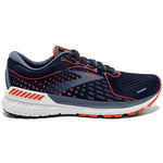 Brooks Men's Adrenaline GTS 21 2E Width Running Shoes Navy / Red Clay / Grey - achilles heel
