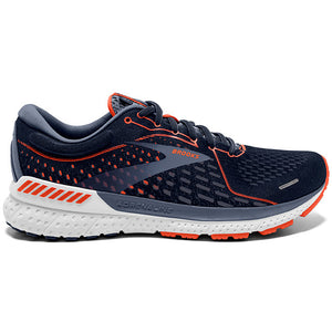 Brooks Men's Adrenaline GTS 21 Running Shoes Navy / Red Clay / Grey - achilles heel
