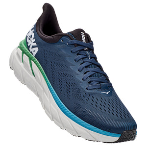 Hoka Men's Clifton 7 2E Width Running Shoes Moonlit Ocean / Anthracite - achilles heel
