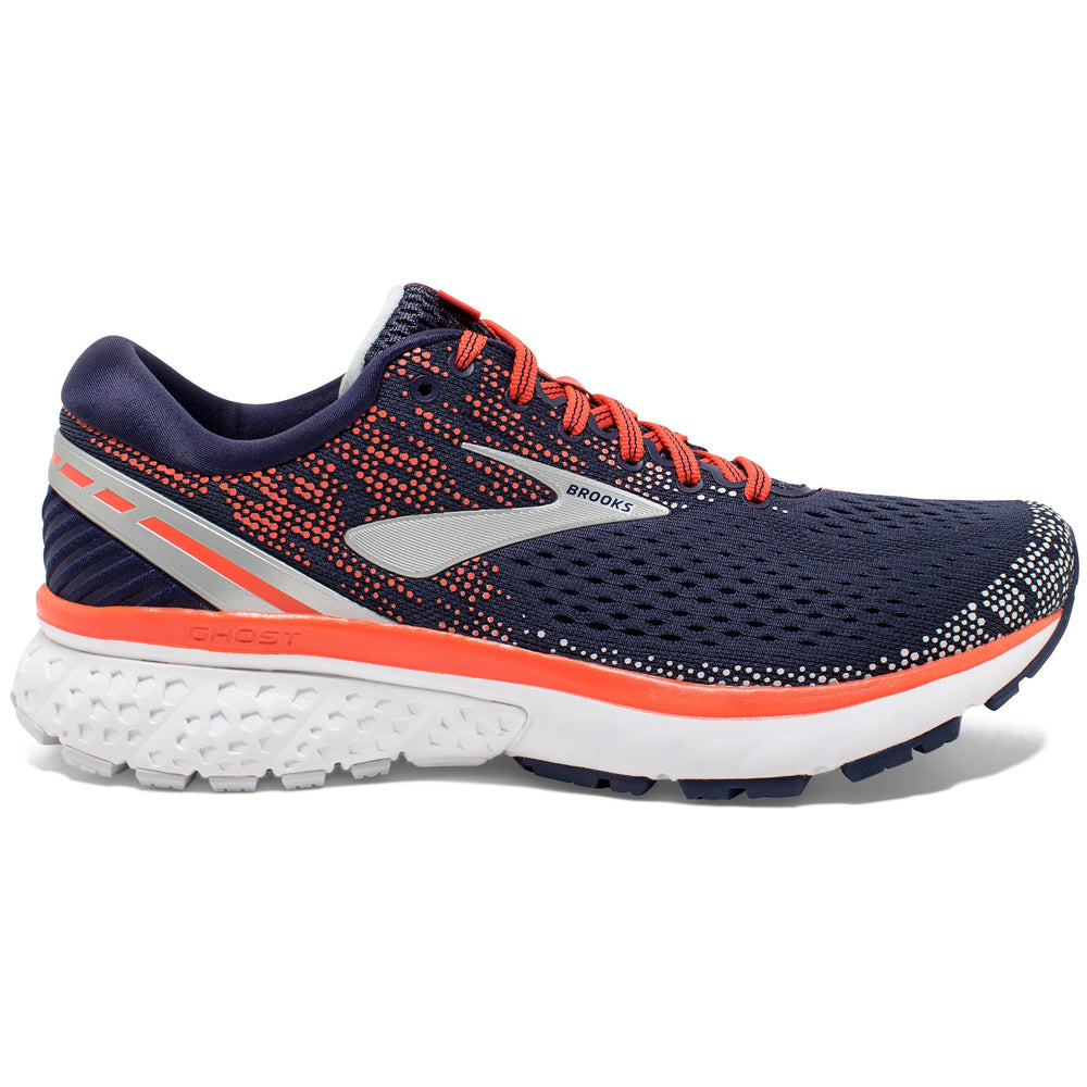 Brooks Women's Ghost 11 Running Shoes Navy / Coral / Grey - achilles heel