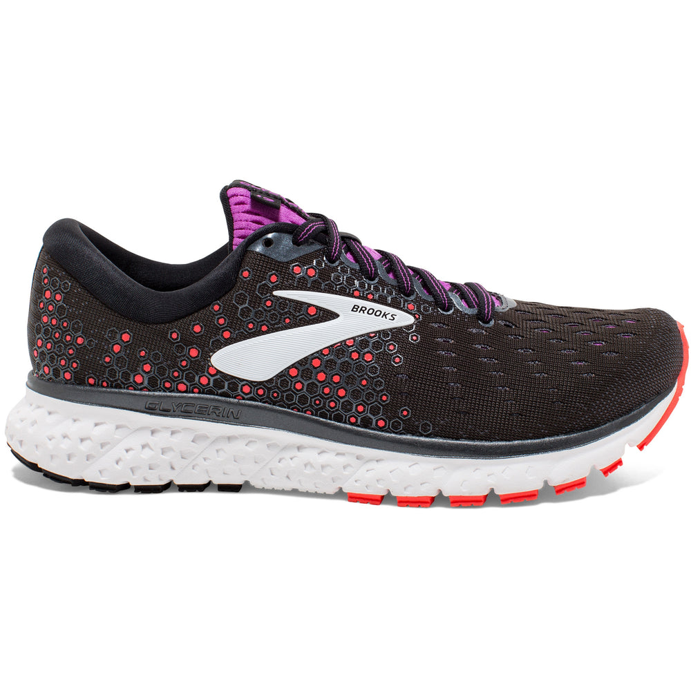 Brooks Women's Glycerin 17 Running Shoes Black / Firey Coral / Purple