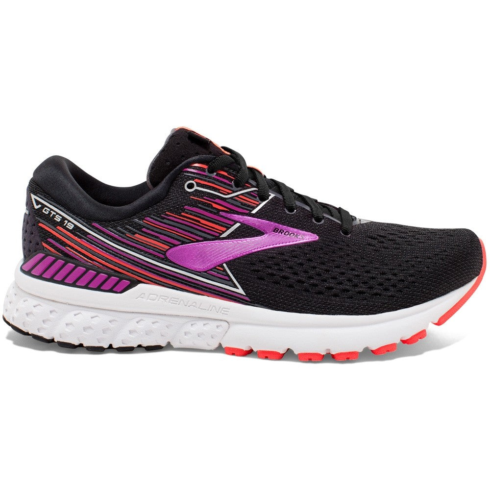 Brooks Women's Adrenaline GTS 19 D Width Running Shoes Black / Purple / Coral - achilles heel