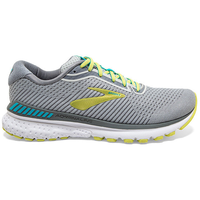 Brooks Women's Adrenaline GTS 20 Running Shoes Grey / Limeade / Blue Bird - achilles heel