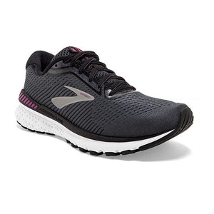 Brooks Women's Adrenaline GTS 20 D Width Running Shoes Black / White / Hollyhock - achilles heel