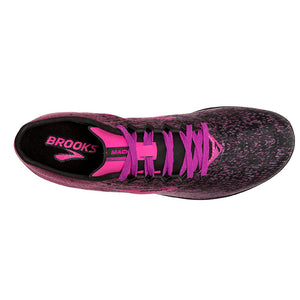 Brooks Women's Mach 19 Running Spikes Black / Hollyhock / Pink - achilles heel