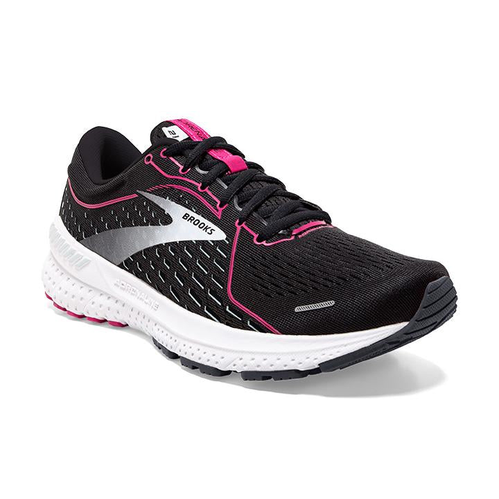 Brooks Women's Adrenaline GTS 21 Wide Fit Running Shoes Black / Raspberry Sorbet / Ebony - achilles heel