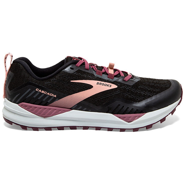 Brooks Women's Cascadia 15 Trail Running Shoes Black / Ebony / Coral Cloud - achilles heel