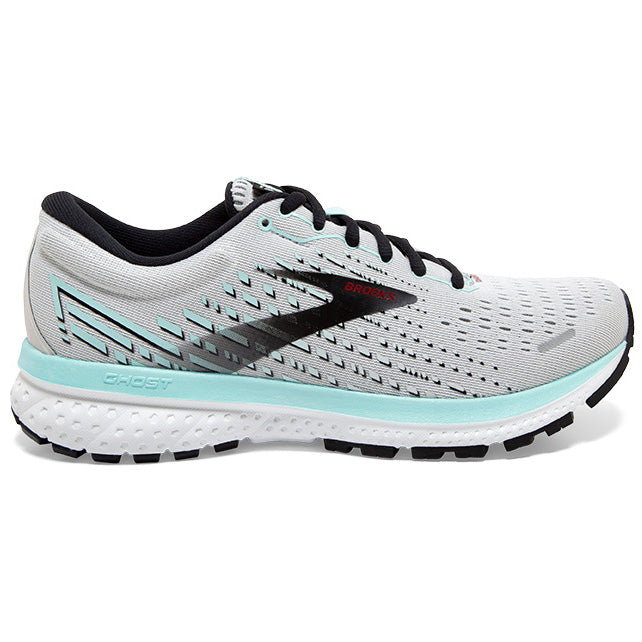 Brooks Women's Ghost 13 Running Shoes Grey / Fair Aqua / Black - achilles heel