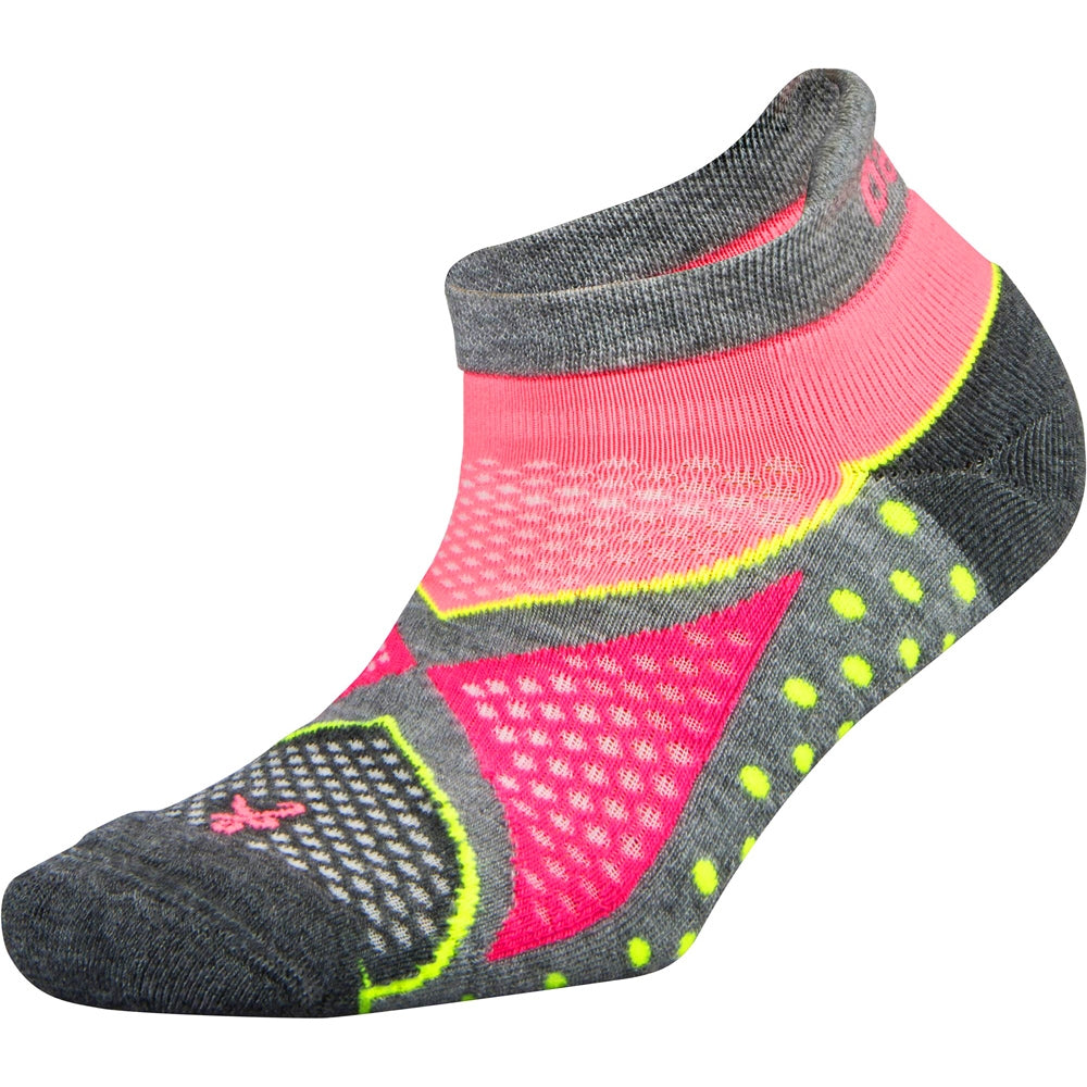 Balega Women's Enduro No Show Running Socks Mid Grey & Sherbet Pink