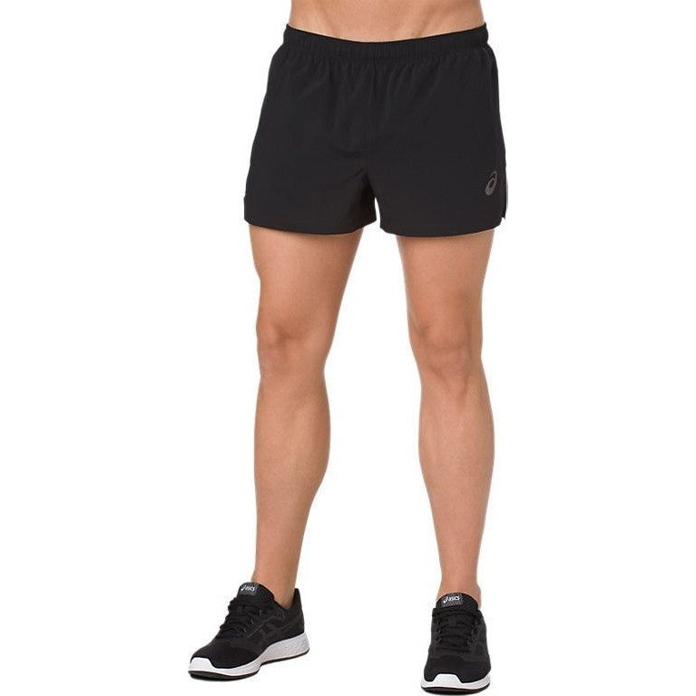 Asics Men's Silver Split Shorts Black - achilles heel