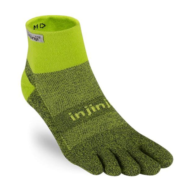 Injinji Trail Midweight Mini-Crew Socks Winter Green - achilles heel
