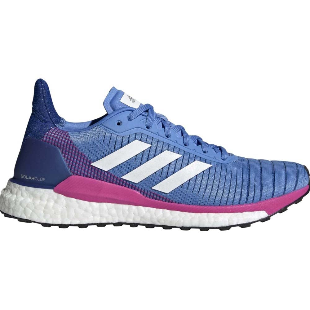 adidas Women's Solar Glide 19 Running Shoes Real Blue / Shock Pink - achilles heel