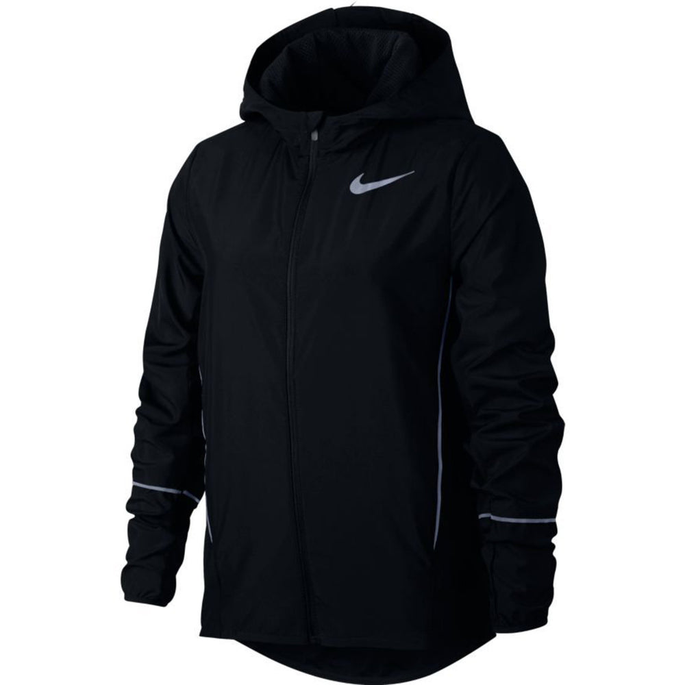 Nike Girls Hooded Run Jacket Black / White - achilles heel