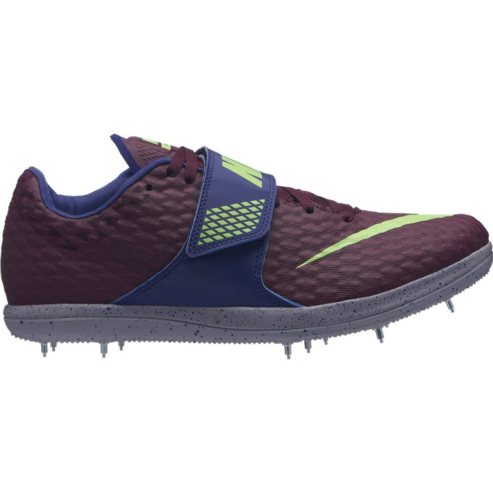 Nike Zoom High Jump Elite Field Shoes Bordeaux / Lime Blast - achilles heel