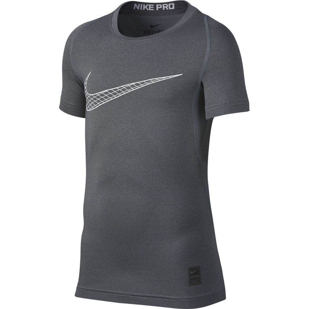 Nike Boys Pro Tee Carbon Heather & White SU19 065