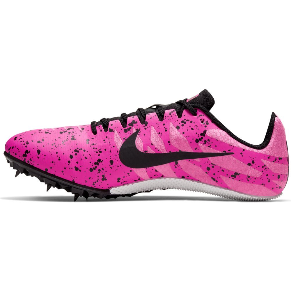 Nike Zoom Rival S 9 Running Spikes Pink Blast / Black / Pure Platinum - achilles heel