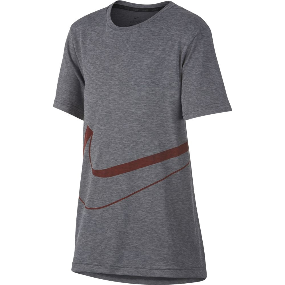 Nike Boys Dri-Fit Breathe Tee Dark Grey & Red FA18 021 - achilles heel