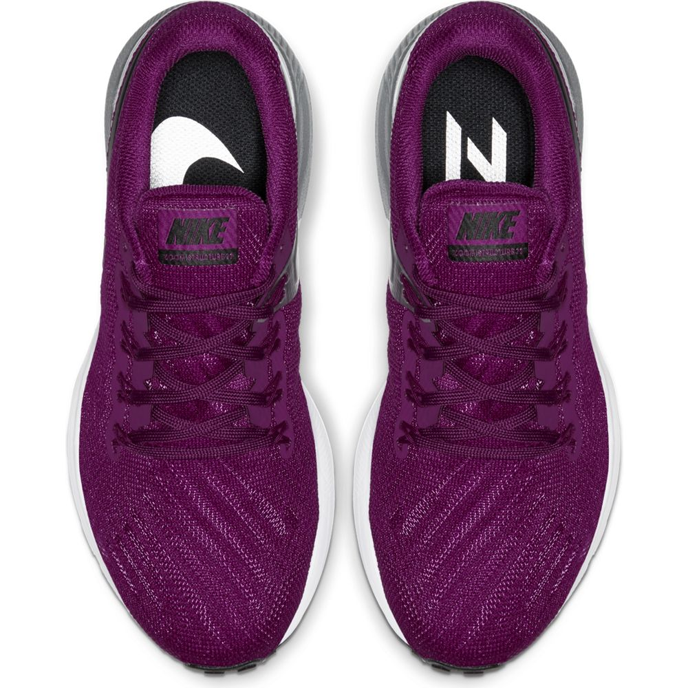 Nike Women's Zoom Structure 22 Running Shoes True Berry / Black Chrome / White - achilles heel