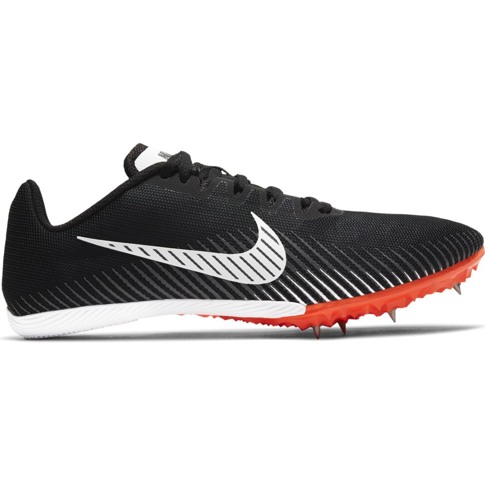 Nike Zoom Rival M 9 Running Spikes Black / White / Iron Grey / Hyper Crimson - achilles heel