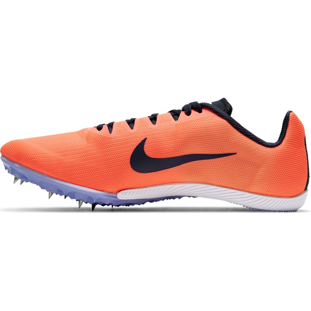 Nike Zoom Rival M 9 Running Spikes Bright Mango / Blackened Blue - achilles heel