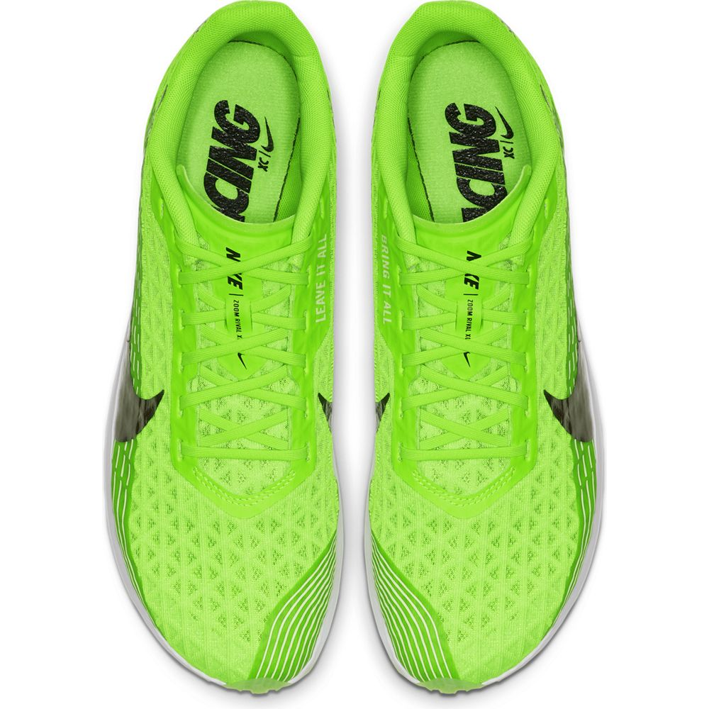 Nike Zoom Rival XC Running Spikes Electric Green / Metallic Pewter - achilles heel