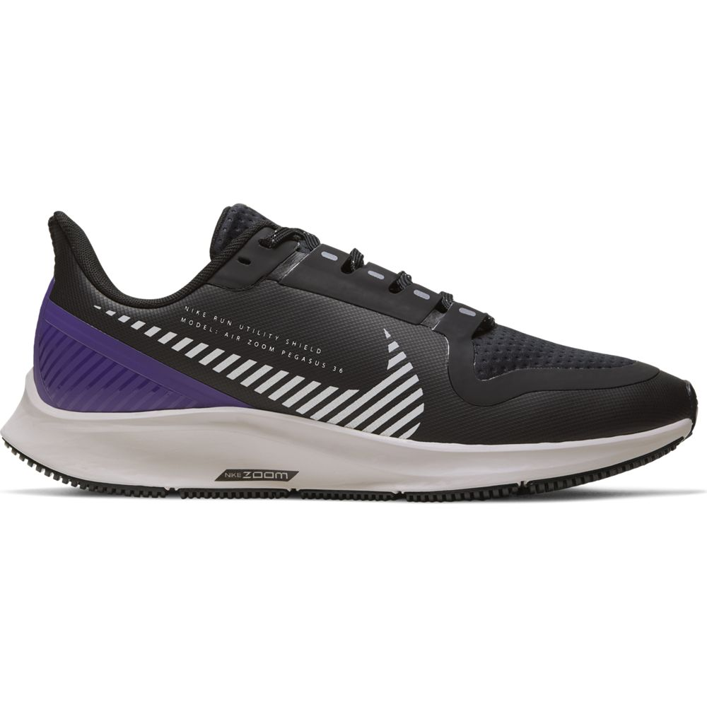 Nike Women's Air Zoom Pegasus 36 Shield Running Shoes Black / Silver / Desert Sand / Purple - achilles heel
