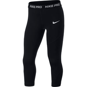 Nike Girls Pro Capri Black / White - achilles heel
