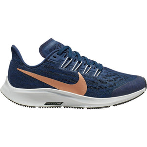 Nike Kids Air Zoom Pegasus 36 Running Shoes Midnight Navy / Metallic Red / Bronze Cool Grey - achilles heel