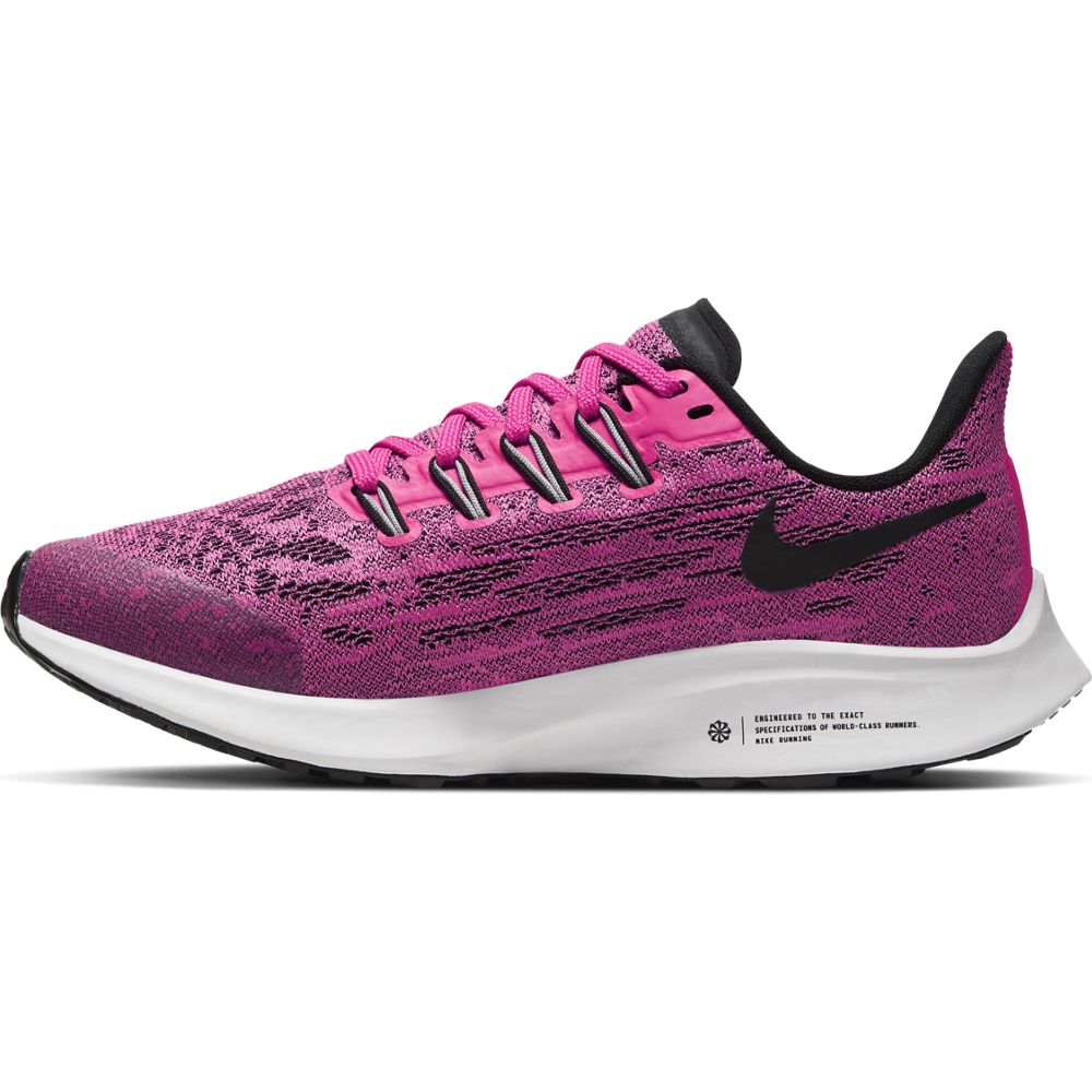 Nike Kids Air Zoom Pegasus 36 Running Shoes Pink Blast / Black / Vast Grey - achilles heel