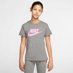 Nike Girls Sportswear Futura Tee Carbon Heather / Pink - achilles heel