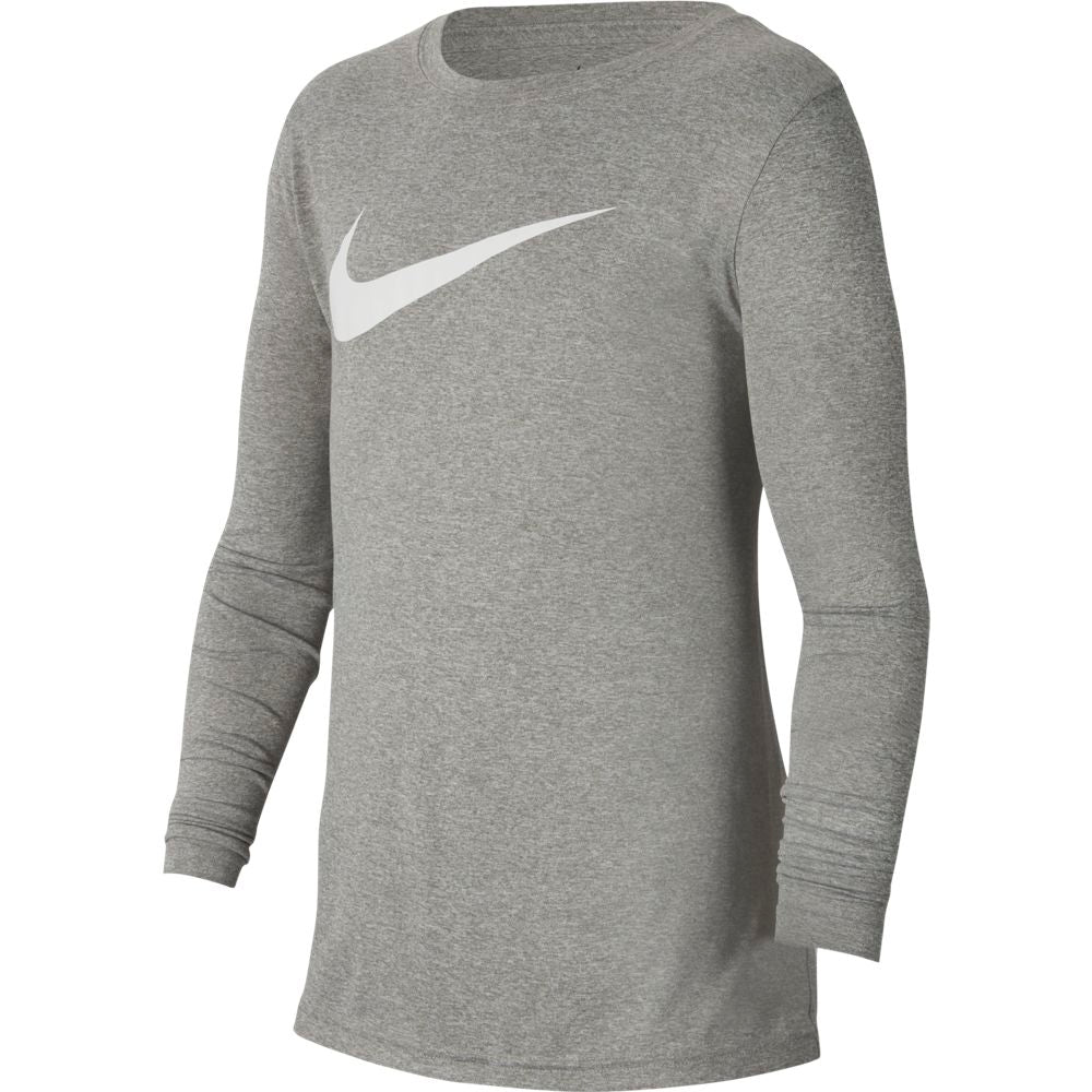 Nike Boys Dry Legend Swoosh Solid Top Dark Grey Heather / White - achilles heel