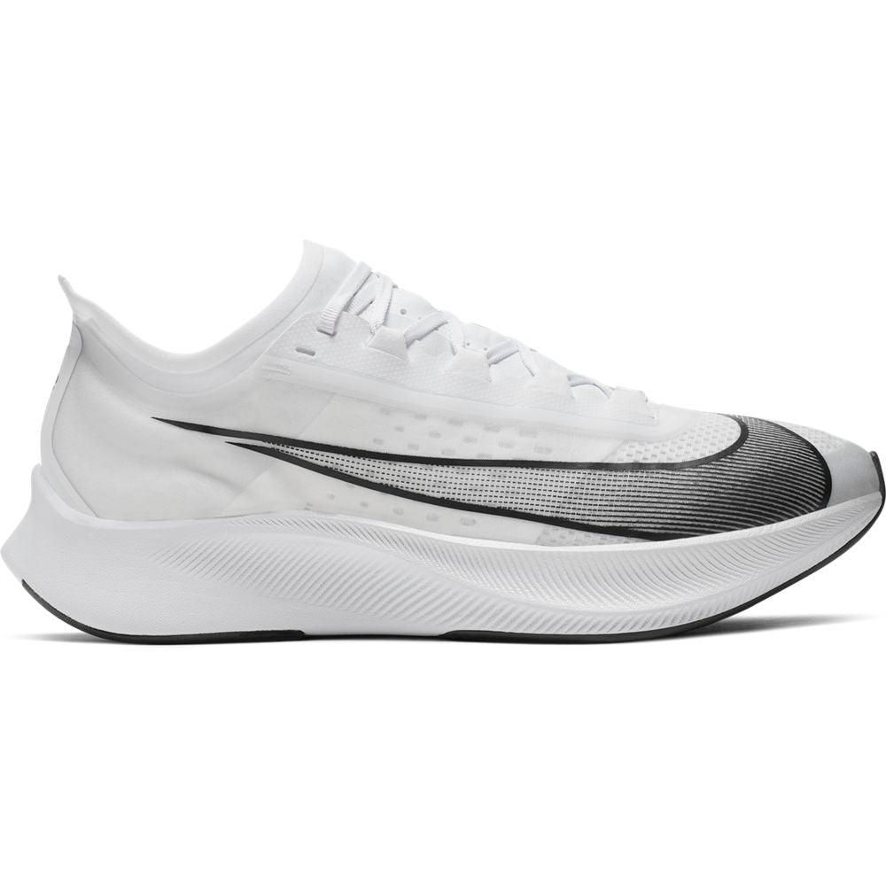Nike Men's Zoom Fly 3 Running Shoes White / Black / Metallic White - achilles heel
