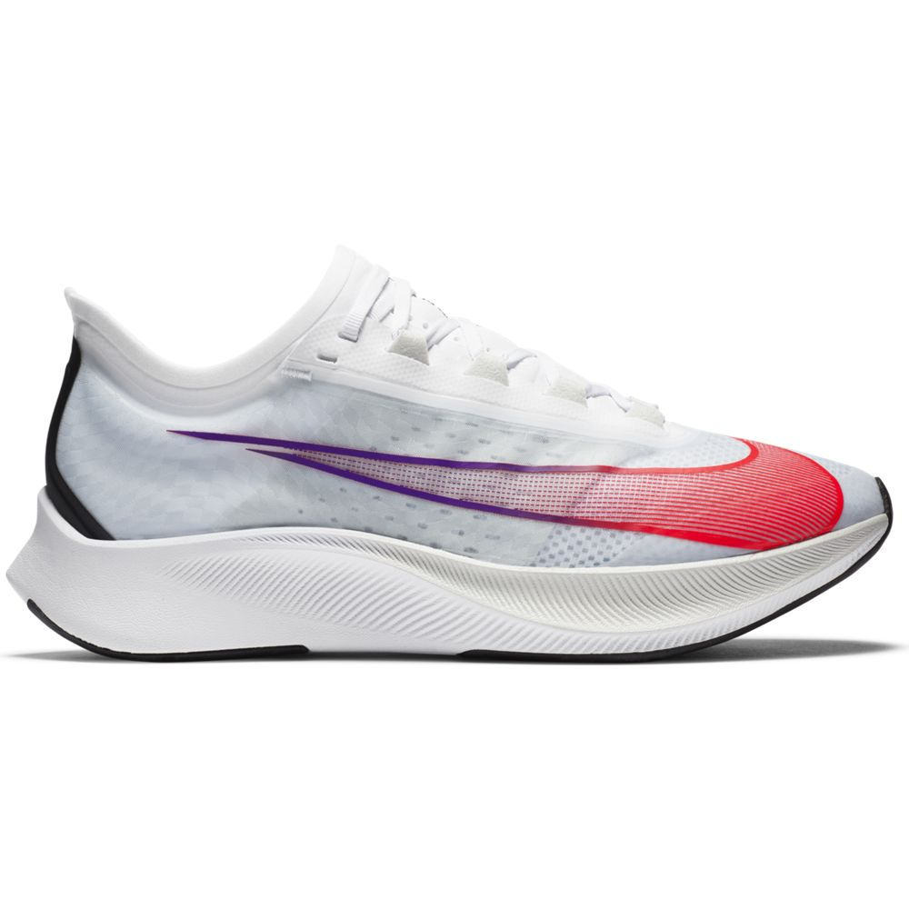 Nike Men's Zoom Fly 3 Running Shoes White / Flash Crimson / Spruce Aura - achilles heel