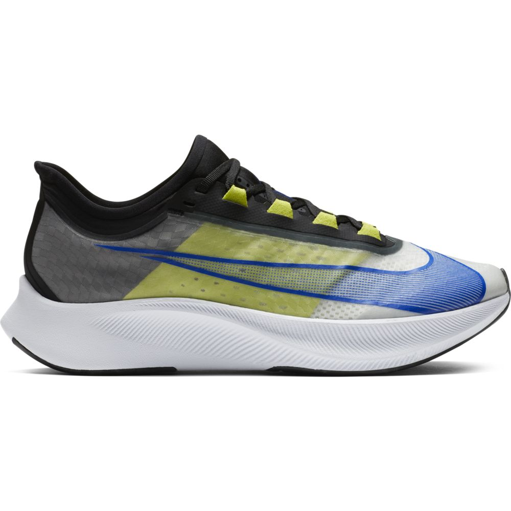 Nike Men's Zoom Fly 3 Running Shoes White / Racer Blue / Cyber Black - achilles heel