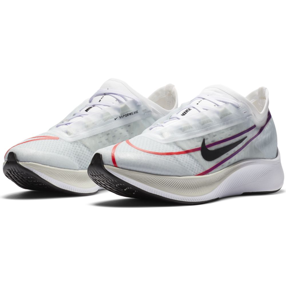 Nike Women's Zoom Fly 3 Running Shoes White / Black / Hyper Violet / Flash Crimson - achilles heel