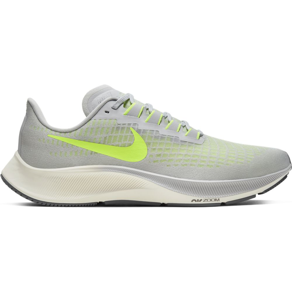 Nike Men's Air Zoom Pegasus 37 Running Shoes Grey Fog / Volt Smoke Grey Sail - achilles heel
