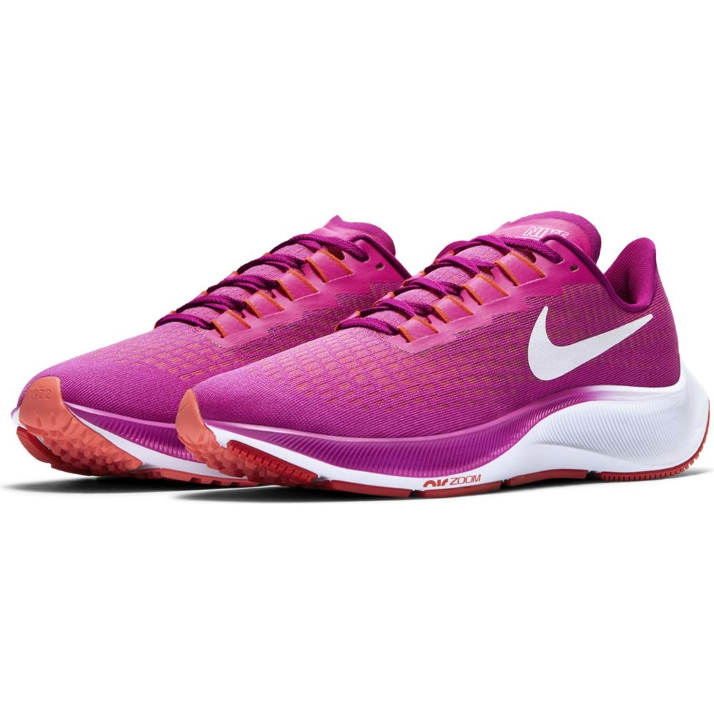 Nike Women's Air Zoom Pegasus 37 Running Shoes Fire Pink / White / Team Orange - achilles heel