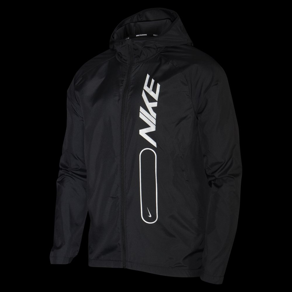 Nike Men's Essential Flash Air Jacket Black / Reflective Silver - achilles heel