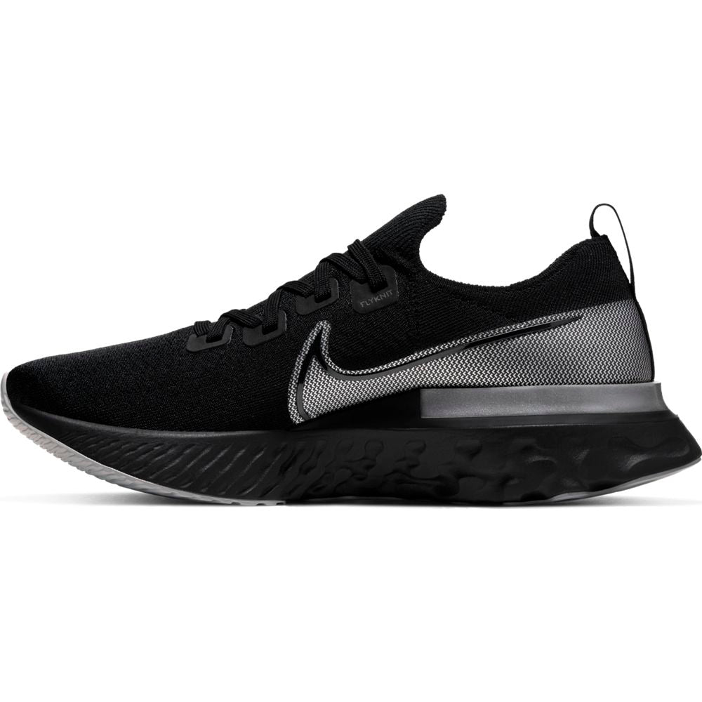 Nike Men's React Infinity Run Flyknit Running Shoes  Black / Black / Metallic Silver - achilles heel